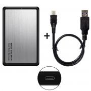CY U3-194 2.5-inch Type-C to SATA External HDD SDD Enclosure Case - Silver