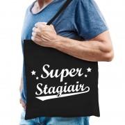 Bellatio Decorations Super stagiair cadeau tas / shopper zwart katoen voor heren