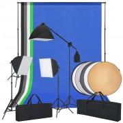 vidaXL Kit estúdio fotografia c/ luzes softbox, fundos e um refletor