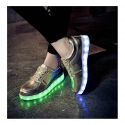 Unisex LED Luminous Shoes Solid Color Flashing USB Sneakers Lace-up Shoes Gold