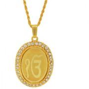 MissMister Gold Plated CZ Studded EK ONKAR Symbol Embossed Sikh sardar Punjabi Khalsa Pendant Jewellery Necklace for Men/Women Boys Girls