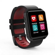 GHIA RELOJ-21 Smart Watch, Pantalla 1.54 Touch, Bluetooth, iOS, Android, Negro/Rojo