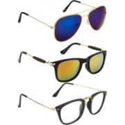 NuVew Aviator, Rectangular, Wayfarer Sunglasses(Clear, Blue, Golden, Orange)