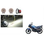 KunjZone 4 LED Small Round Auxiliary Bike Fog Lamp Light Assembly White Set of 2 For Honda CB Unicorn