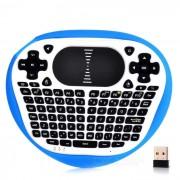 mini raton teclado de vuelo de aire inalambrica w / panel tactil - azul + blanco
