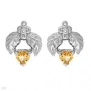 Дамски сребърни обици с естествени цитрин и диаманти