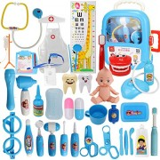 Xst Kids Doctor Toy Set Baby Suitcase Tool Box Medical Kit Pretend Play Simulation Dentist Nurse With Doll Costume Stethoscope Gift - Blue, 39 Pieces