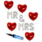 De-Ultimate Set Of Balloons Air Pump MR MRS Alphabets Foil Balloons And 5 Pcs Love Heart Balloons For Anniversary party