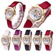 5 Colors Women Watches Cute Cat Glasses Dress Women Clock Analog Quartz Wristwatches Orologio Donna Wristwatch Women Dropship