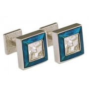 Mousie Bean Crystal Cufflinks Square Polo 003 Lt. Blue/Crystal