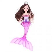 Vodool Plastic Fish Tail Dolls Toys Set Light Music Singing Toys Girls Gifts(B2)