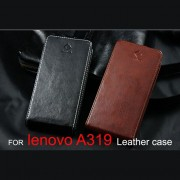 Lenovo A319 Флип Кожен Калъф + Протектор