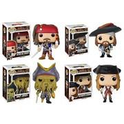 Pop Disney Pirates of the Caribbean Captain Jack Sparrow Barbossa Elizabeth Swann and Davy Jones Vinyl Figures Set of 4