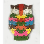 Educative Wooden Puzzles with Number and Alphabets. (Owl Puzzle)