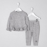 River Island Grijze / Mini - Set met grijze gemêleerde joggingbroek met ruches langs de zoom