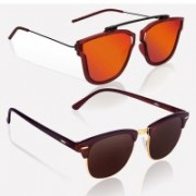 Knotyy Clubmaster, Retro Square Sunglasses(Orange, Brown)