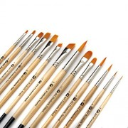 AIT Art Paint Brushes, Set of 14, Excellent Variety of Shapes for All Needs, Handmade in USA to Last Longer Without Shedding or Breaking, Allowing Painting with Brushes That Artists Trust to Perform