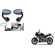 Kunjzone Premium Quality Motorycle Bar End Mirror Rear View Mirror Oval for Bajaj Pulse