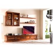 Wohnwand TV mit Vitrinen und Brettern