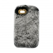 Cute Rabbit Fur Fluffy Caliente Funda De Teléfono Móvil Apto Para IPhone Gris
