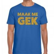 Bellatio Decorations Maak me Gek glitter tekst t-shirt blauw heren