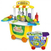 Toys Bhoomi 2 in 1 Activity Pushcart The Diner Cafe Kitchen Play Food Toys Set with Easy Storage Roller Case - 31 Piece