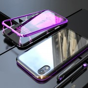Detachable Magnetic Metal Frame + Tempered Glass Back Hard Casing for iPhone XR 6.1 inch - Purple