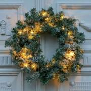Anton LED wreath, timer, green, snow decoration