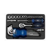 Set chei clichet + set imbus + tubulare 1/4 in cutie metal Ford-Tools FMT-034