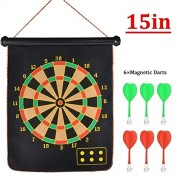 Metro Toys Latest Roll-up Magnetic Dart Board Set Double Sided Hanging Wall Dartboard with Safety Magnet Darts (Medium)
