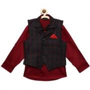 AJ Dezines Kids Party Wear Maroon Color Shirt Waistcoat Set For Boys