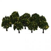 ELECTROPRIME 20PCS Model Yellow Fruit Trees 6CM Tall Z Layout Railroad Train Scenery 4CM