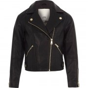 River Island Girls Black faux leather biker jacket (Size 9 - 10 Years)
