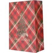 Bellatio Decorations Kerstmis cadeautassen XXL 72 cm rood geruit