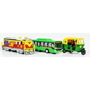 3 Combo Locomotive Engine Low floor bus & Auto toys kit (Red Green Green)
