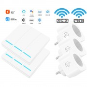 SMATRUL WHK-D08-WIFI-2 2Pcs 3-Gang Wireless WiFi Key Switch with 3 Plug Controllers - EU Plug/White