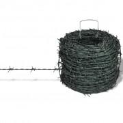 vidaXL Zelena bodljikava žica, rola 100 m