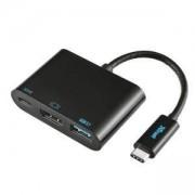 Адаптер TRUST USB-C Multiport Adapter, USB Type-C към HDMI, Type-C PD/charging, Type-A 3.1, 21260