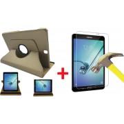 Hoes voor Samsung Galaxy Tab S2 9.7 Book Case + Screen Protector 9H 2.5D - 360 Graden Draaibaar Goud Leer Cover Rotatie Hoesje voor Galaxy Tab S2 9.7