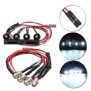 WPL C14 C24 1/16 2.4G Rc Car DIY Parts 4 White LED Light Headlight Set With Metal Lamp Cup