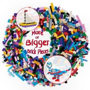 "Building Bricks - 1000 pc ""Big Bag of Bricks"" Bulk Blocks with 54 Roof Pieces - Tight Fit and Compat"
