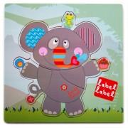 Puzzle din lemn Elefant Label-Label, 30 x 30 cm, 1 an+