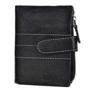 Elegante estilo mediano cuero de vaca 3-Fold Wallet monedero - Negro