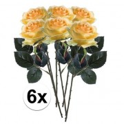 Bellatio flowers & plants 6x Gele rozen Simone kunstbloemen 45 cm