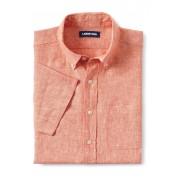 ランズエンド LANDS' END メンズ・リネン・シャツ/半袖/ネクタイ(タンジェリン)