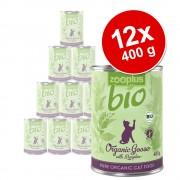 12x400g zooplus Bio konzerv nedves macskatáp- Bio kacsa & cukkini