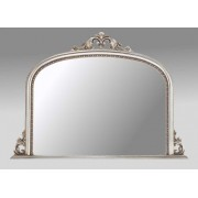 Ornate Champagne Silver Overmantle Mirror