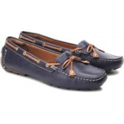 Clarks Dunbar Racer Women Genuine Leather Boat shoes For Women(Tan, Navy)