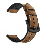 Genuine Leather Coated Silicone Smart Watch Strap [20mm Width] for Huawei Watch GT2 42mm - Dark Brown