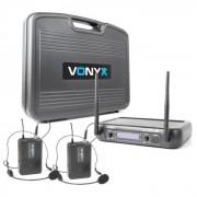 Vonyx WM73H Set de 2 micros VHF sans fil 2 canaux 2 émetteurs de poche + casque